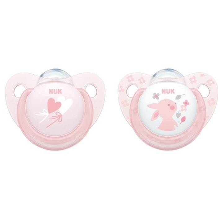 NUK: Silicone Soother - 0-6 Months (2 Pack) - Baby Rose image