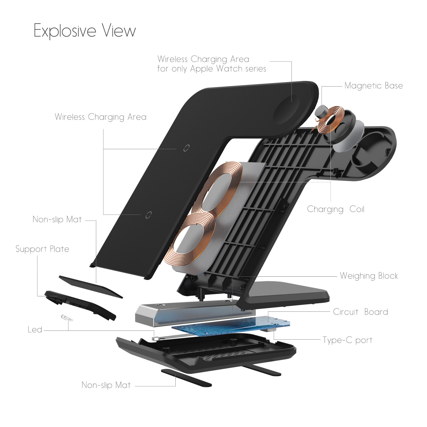 Ape Basics: 2 in 1 wireless charging stand Pro image