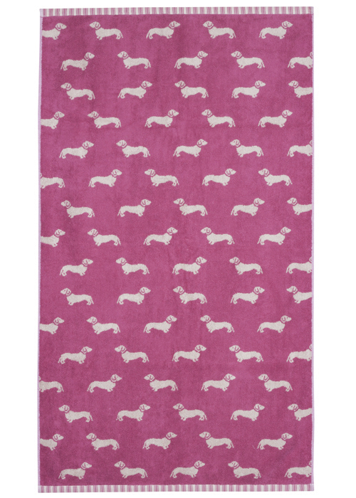 Emily Bond Bath Towel - Pink Dachshunds