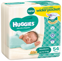 Huggies Nappies Bulk - Newborn - Up to 5kg (54)