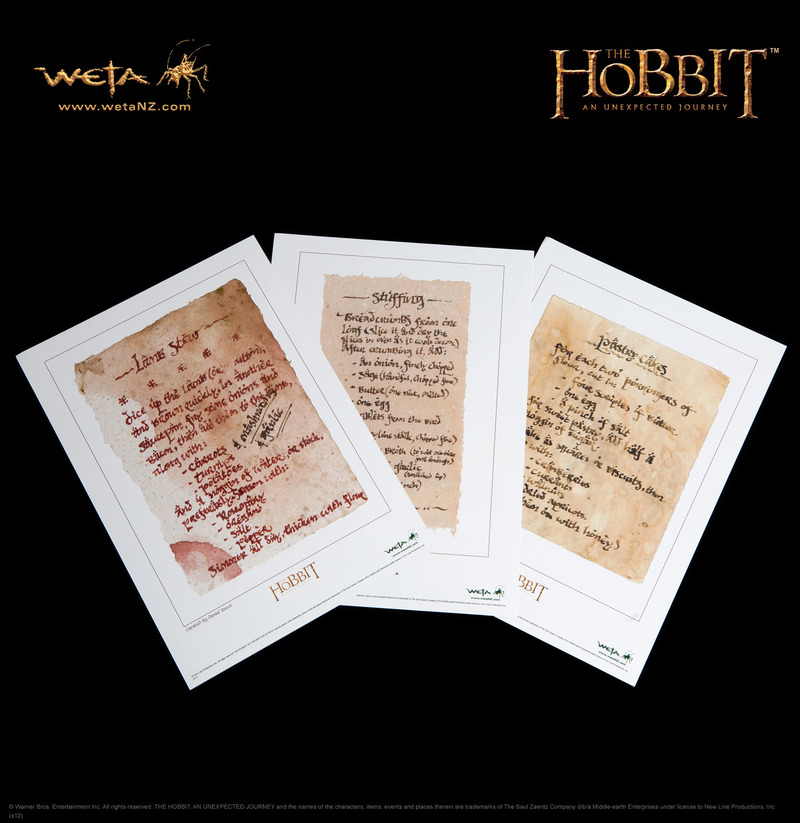 The hobbit art prints recipes from bag end by weta at mighty ape nz - Hobbit book ends ...