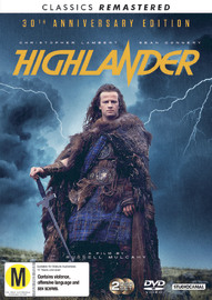 Highlander (30th Anniversary + Remastered) on DVD