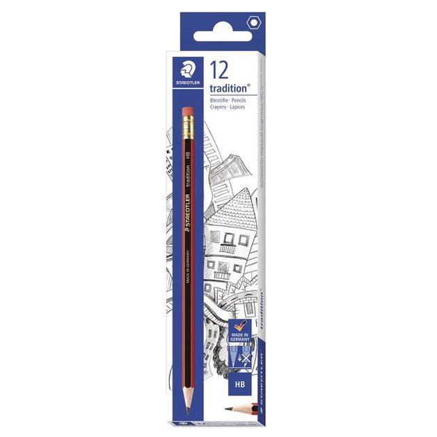 Staedtler 112HB Tradition Pencil with Eraser Tip - 12 Pack