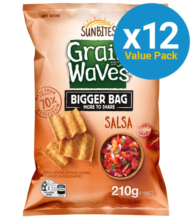 Sunbites Grain Waves Salsa Party Bag 210g (12 Pack)