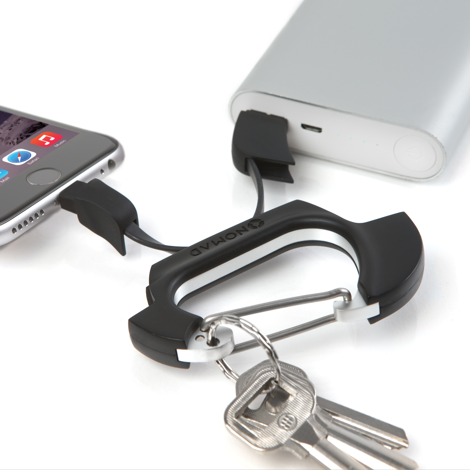 nomad clip carabiner lightning to usb cable