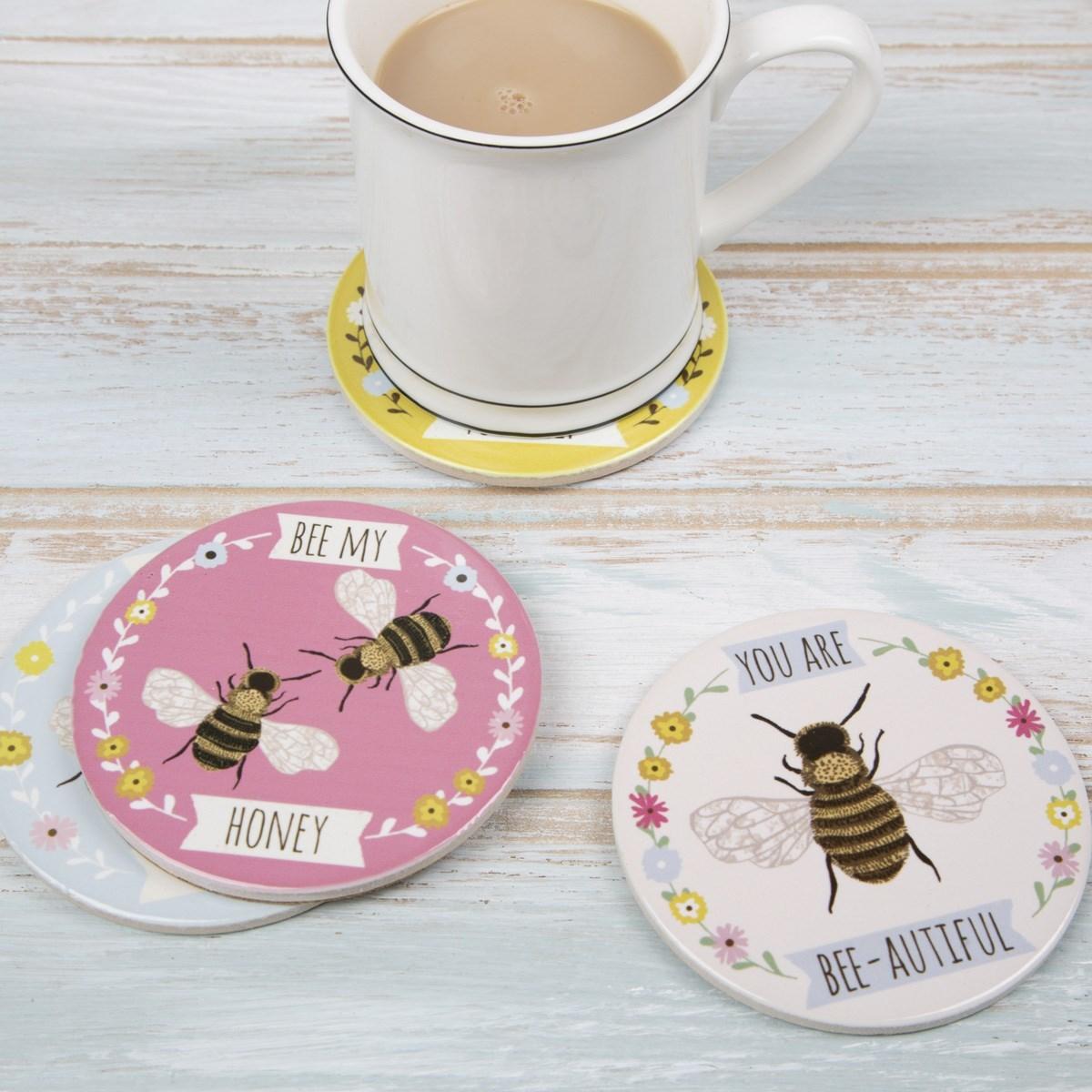 Bee Coasters - set of 4 image