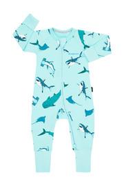 Bonds Zip Wondersuit Long Sleeve - Shark Bay Unreal Aqua (New Born)