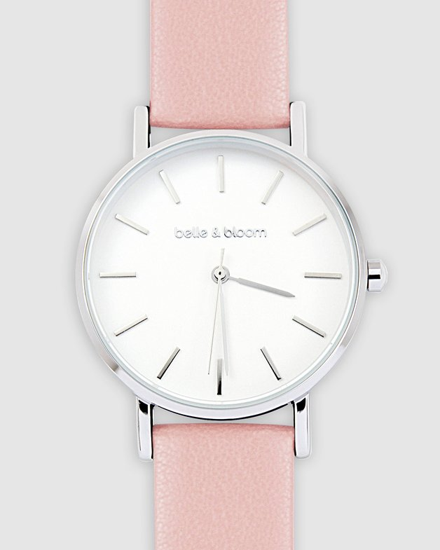Belle and Bloom: Lafayette Love Classic Watch - Silver / Mahogany Rose
