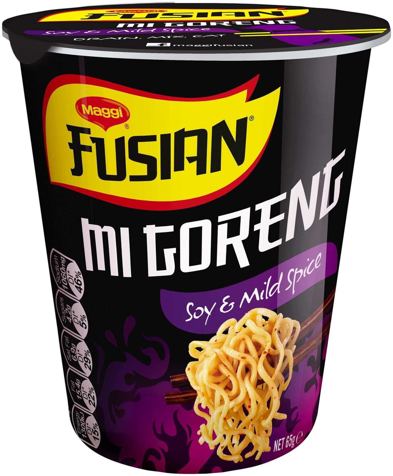 Maggi Fusian Cup Noodles - Mi Goreng Soy & Mild Spice 64g (12 Pack) image