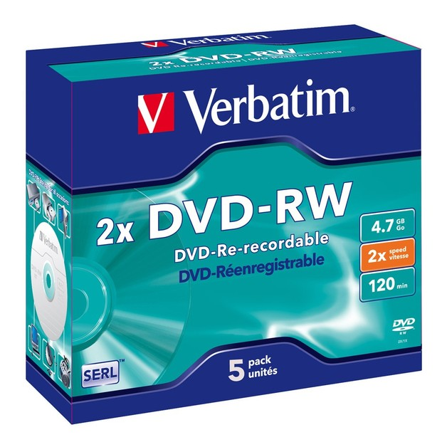 Verbatim DVD-RW 4.7GB Jewel Case 2x (5 Pack)