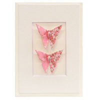 Short Story: Twin Butterfly Greeting Card - Little Pink Flowers
