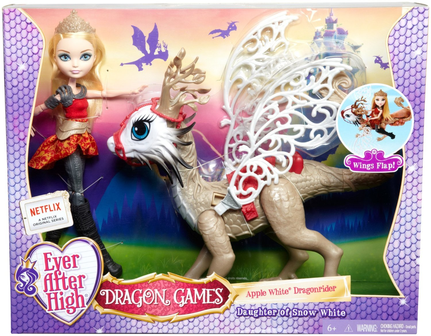 Ever After High Apple White Dragonrider Set Toy At