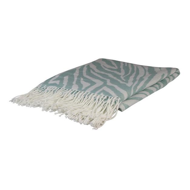 Madras Link: Zebra Jacquard Throw (Aqua)