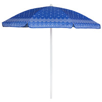 Picnic Time: 5.5 Ft. Umbrella - Blue with Paisley Pattern