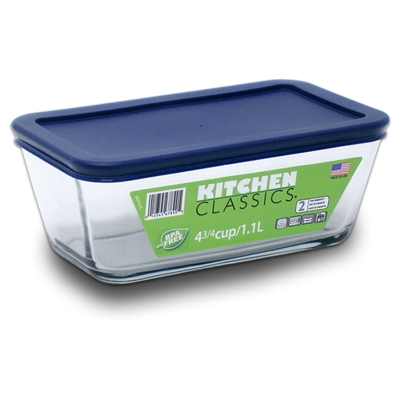 Rectangular Glass Container With Blue Lid (1.1 Litre)