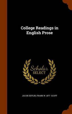 College Readings in English Prose by Jacob Zeitlin image
