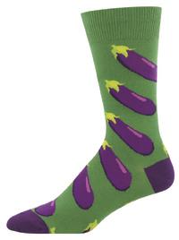 Socksmith: Men's Eggplant Crew Socks - Green