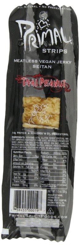 Primal Spirit Foods: Primal Thai Peanut Vegan Jerky Strip