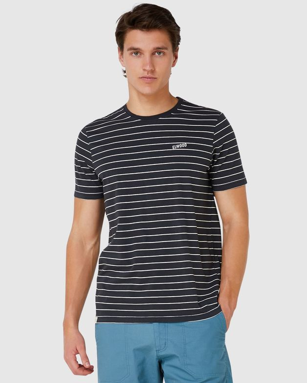 Elwood: Mens Stripe Tee (Vintage Black) - Ex Large