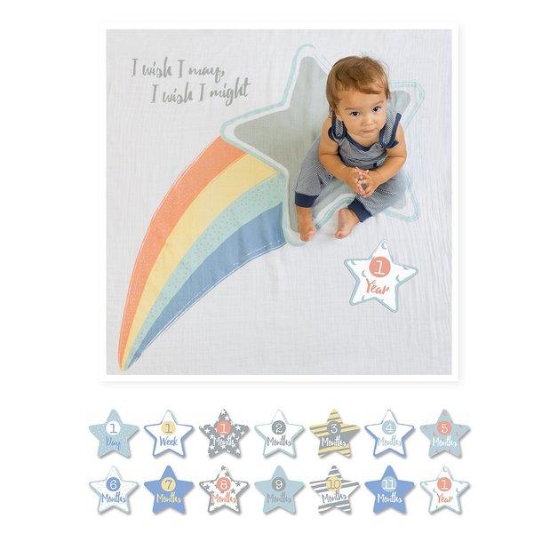 Lulujo's Baby First Year Milestone Blanket & Cards Set - I Wish I May