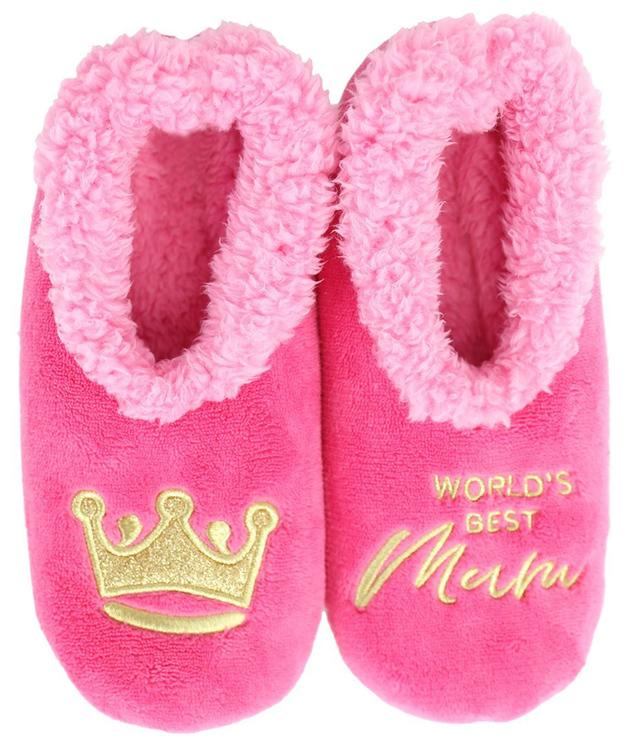 Slumbies: World's Best Mum Pink - Womens Slippers (Large)