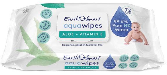EarthSmart: Aqua Baby Wipes Aloe Vera + Vitamin E (72 pack)