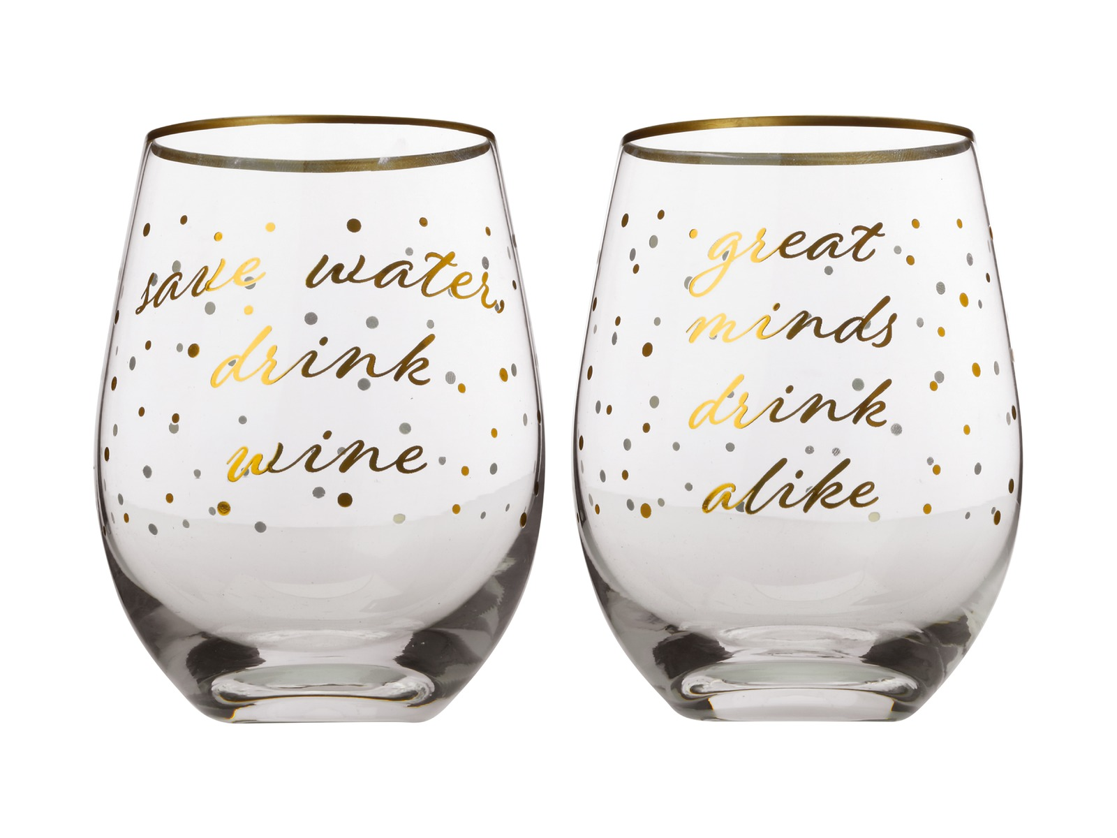 Maxwell & Williams Celebrations Stemless Glasses - Save Water / Great Minds image