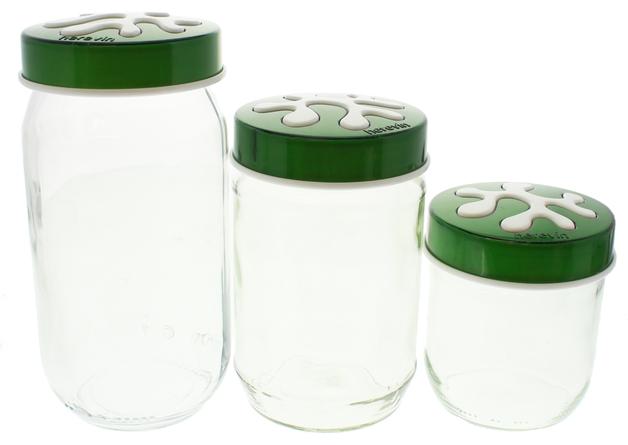 Glass Kitchen Canister Set Green At Mighty Ape Nz