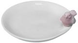 Robin Round Plate - White/Pink