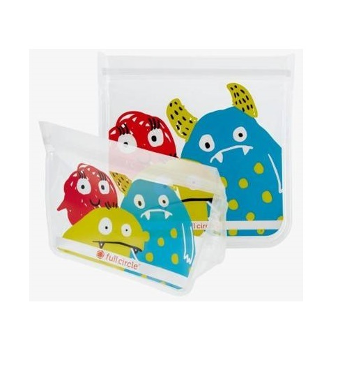 Full Circle: Reusable Snack Bags – Monster (Set/2)