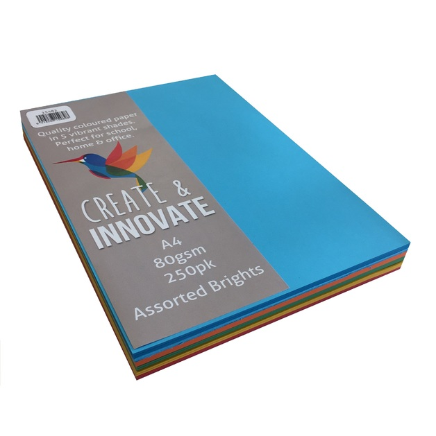 Create & Innovate A4 80gsm Paper - 5 Brights (250 Pack)