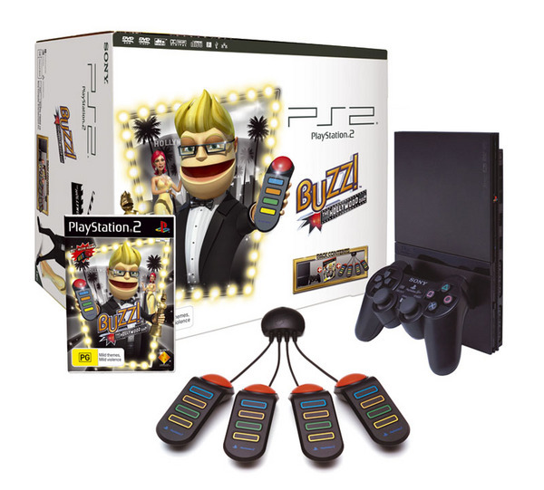 Playstation 2 Console with Buzz! Hollywood and Buzzers for PlayStation 2