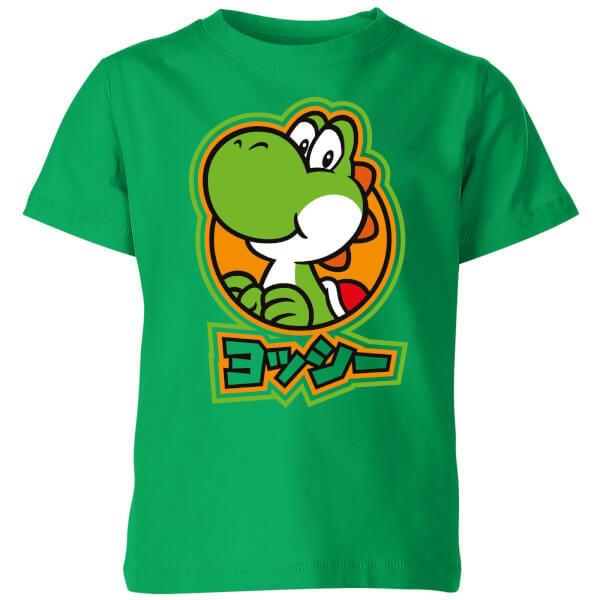 Nintendo Super Mario Yoshi Kanji Kids' T-Shirt - Kelly Green - 11-12 Years