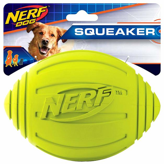Nerf Dog Rubber Squeak Green Football