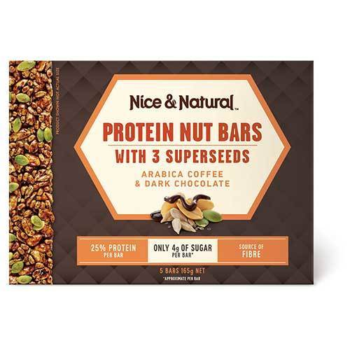 Nice & Natural: Protein Nut Bars - Coffee & Dark Choc (165g) 8pk