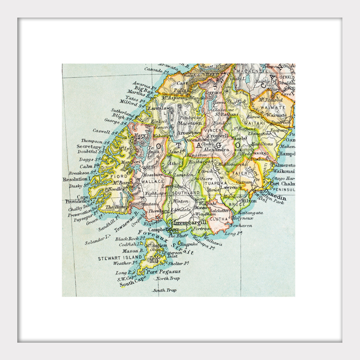 Printable Map Of South Island New Zealand.Lower South Island Vintage Map Print Framed