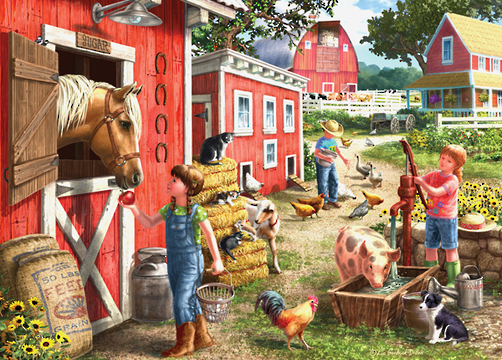 Holdson: Young at Heart - Farmhouse Chores - 500 Piece XL Puzzle
