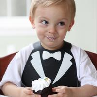 Make My Day: Silicon Baby Bib - Tuxedo Black & White