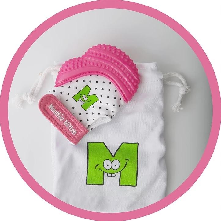 Mouthie Mitten Teething Mitten (Pink Shimmer) image
