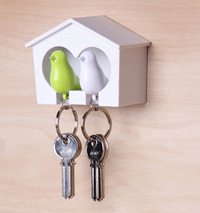 Qualy Duo Sparrow Key Ring (Green/White)