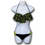 Batgirl Ruffle Bandeau Bikini with Loop Bottom (Medium)