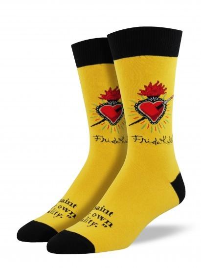 Men's Frida Heart Crew Socks - Butterscotch