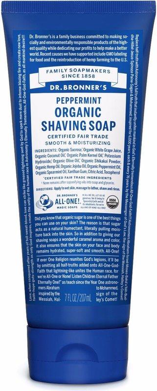 Dr Bronner's - Peppermint Organic Shaving Soap (208ml)