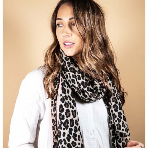 Leopard Stripe Scarf - Blush