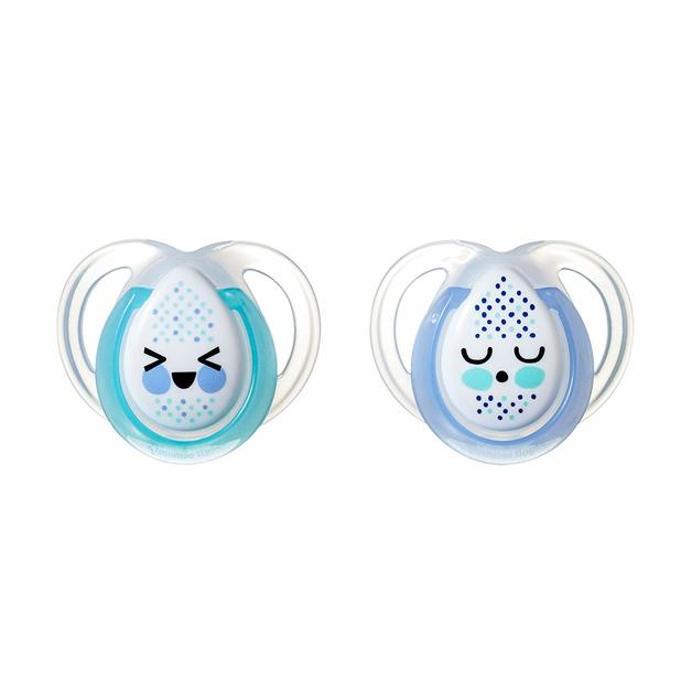 Closer to Nature: Night Time Soothers Twin Pack - 0-6m (Teal and Blue)