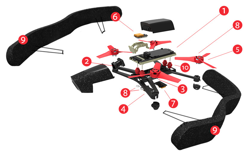 Parrot Bebop - Camera Drone with Skycontroller (Red)