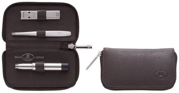 Zip Case Neats Leather 3pc Brwn
