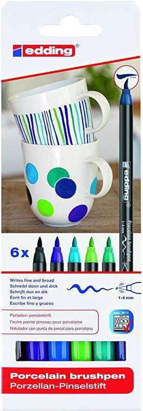 Edding: Porcelain Brush Pen Set (6) - Cool