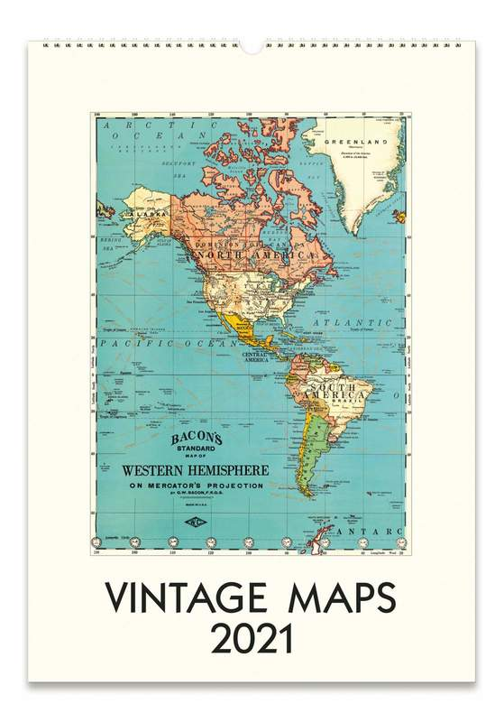 Cavillini & Co.: Vintage Maps 2021 Wall Calendar