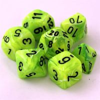 Chessex Signature Polyhedral Dice Set Bright Green/Black Vortex